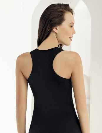Sahinler Unterhemd mit breiten Trägern und Dreieck-Ausschnitt am Rücken schwarz MB804 - Thumbnail