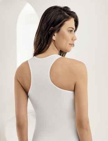Şahinler - Sahinler Unterhemd mit breiten Trägern und Dreieck-Ausschnitt am Rücken weiß MB804 (1)