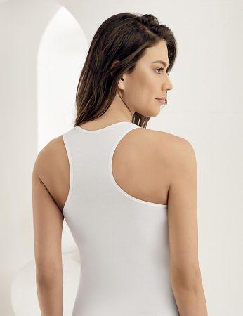 Sahinler Unterhemd mit breiten Trägern und Dreieck-Ausschnitt am Rücken weiß MB804