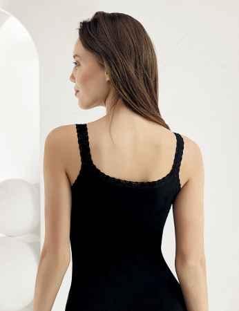 Sahinler Unterhemd mit doppelten Trägern Ausschnitt und Ärmelansätze mit Spitze schwarz MB614 - Thumbnail