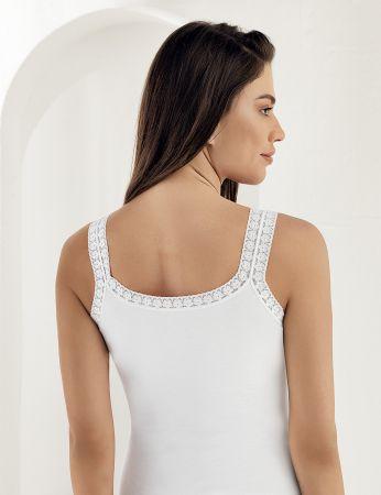 Sahinler Unterhemd mit doppelten Trägern Ausschnitt und Ärmelansätze mit Spitze weiß MB614