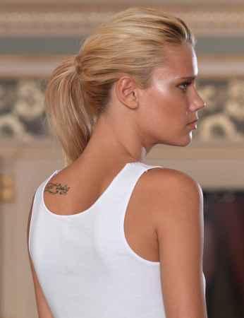 Sahinler Unterhemd mit Guipure-Stickerei am Kragen und breiten Trägern weiß MB1016 - Thumbnail