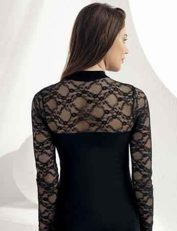 Şahinler - Sahinler Unterhemd mit langen Ärmeln und Stehkragen schwarz MB271 (1)