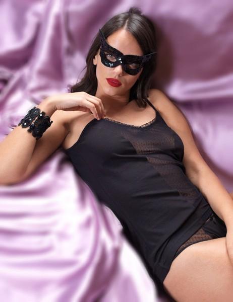 Şahinler - Sahinler Unterhemd und Slip Set mit Tüll schwarz MB2006