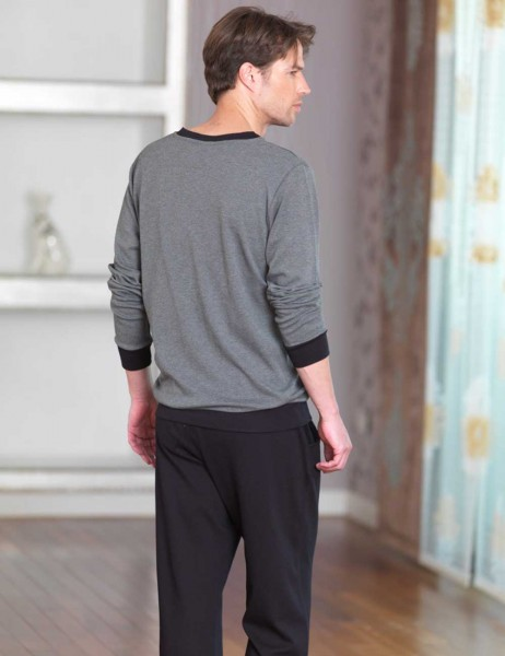 Şahinler - Sahinler V Neck Men Pajama Set Dark Grey MEP23226-1 (1)