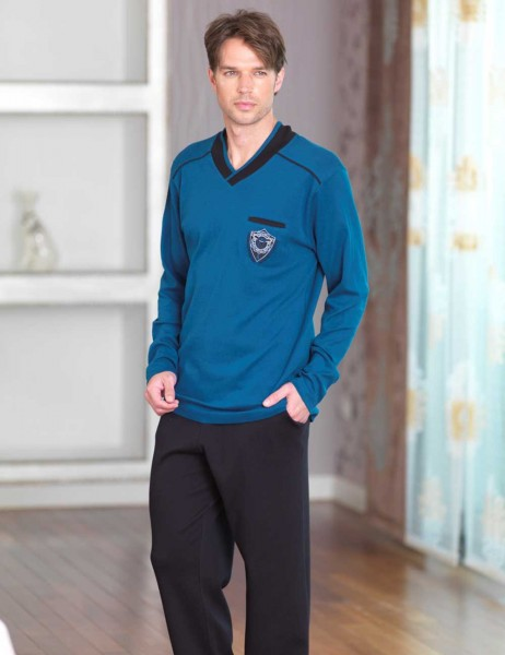 Şahinler - Sahinler V Neck Men Pajama Set Petroleum MEP23224-2