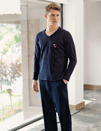 Şahinler - Şahinler V Yaka Cepli Erkek Pijama Takımı MEP24510-1