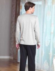 Şahinler - Şahinler V Yaka Erkek Pijama Takımı Haki MEP23223-1 (1)