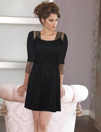 Şahinler - Sahinler Woman Nightgown & Morning Gown Set Black D-43 (1)