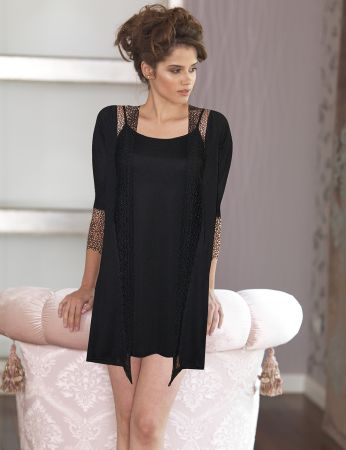 Şahinler - Sahinler Woman Nightgown & Morning Gown Set Black D-43