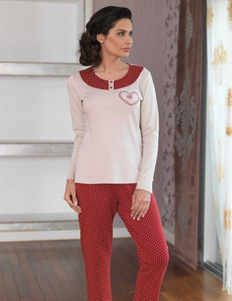 Şahinler - Şahinler Women Button Pajama Set Mink MBP23102-1