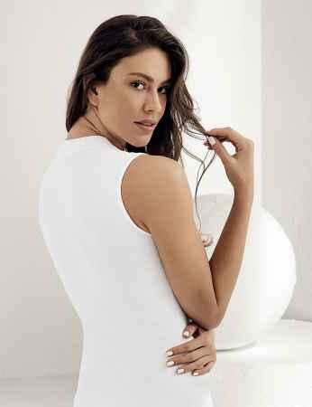 Sahinler Women Lycra Singlet Turtleneck Sleeveless White MB1009 - Thumbnail