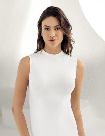 Sahinler Women Lycra Singlet Turtleneck Sleeveless White MB1009