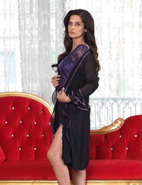 Şahinler - Sahinler Women Nightgown Set Black MBP23113-1