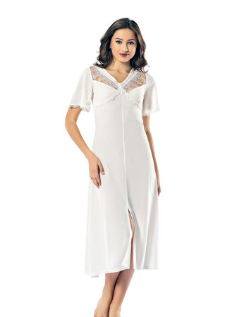Şahinler - Şahinler Women Nightgown White MBP24142-2