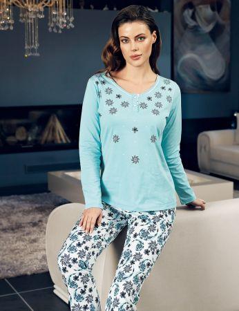 Şahinler - Şahinler Women Pajama Set Blue MBP24111-2