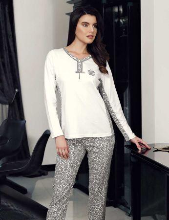 Şahinler - Şahinler Women Pajama Set Ecru MBP23711-1