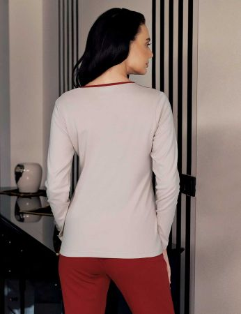 Şahinler - Şahinler Women Polka Dot Print Pajama Set Mink MBP23707-1 (1)