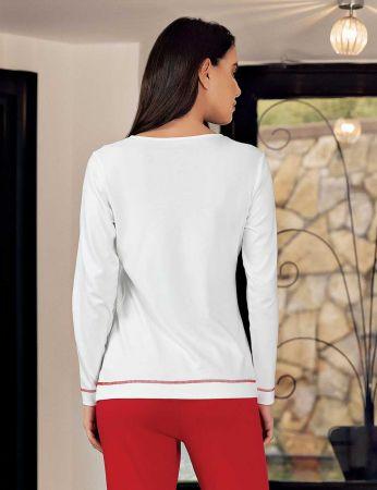 Şahinler - Şahinler Women Print Pajama Set Ecru MBP23706-1 (1)