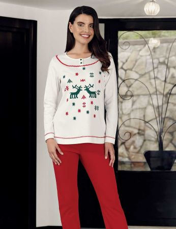 Şahinler - Şahinler Women Print Pajama Set Ecru MBP23706-1