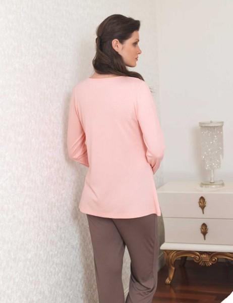 Şahinler - Sahinler Women Printed Pajama Set Powder MBP23109-1 (1)