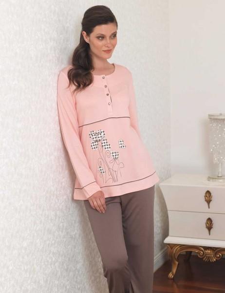Şahinler - Sahinler Women Printed Pajama Set Powder MBP23109-1