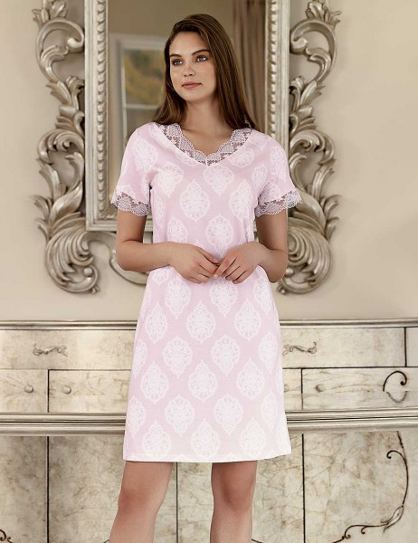 Şahinler - Şahinler Women Short Nightgown Pink MBP23419-1