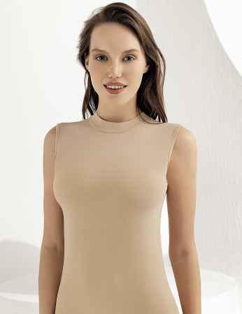 Sahinler Women Singlet Turtleneck Sleeveless Beige MB1009 - Thumbnail