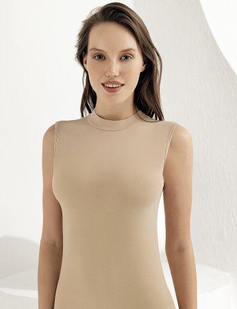 Sahinler Women Singlet Turtleneck Sleeveless Beige MB1009
