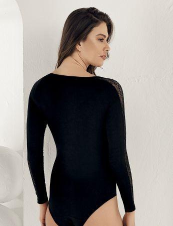 Sahinler Women Snap Body Lace Long Sleeve Black MB1021