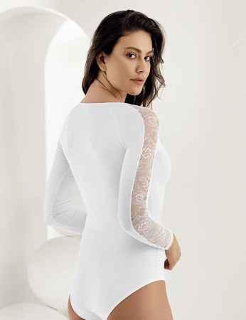 Şahinler - Sahinler Women Snap Bodysuit Lace Long Sleeve White MB1021 (1)