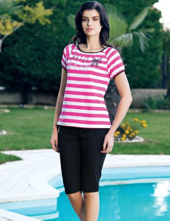 Şahinler - Şahinler Women Striped Capri Set Pink MBP24046-1