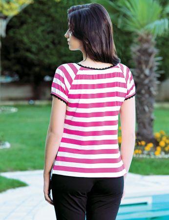 Şahinler - Şahinler Women Striped Capri Set Pink MBP24046-1 (1)