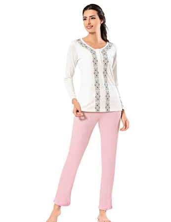 Şahinler Yakası Düğmeli Bayan Pijama Takımı Pembe MBP24405-1 - Thumbnail