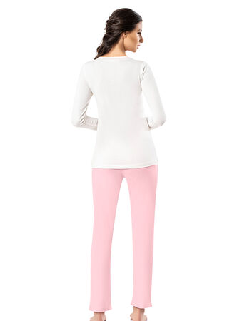 Şahinler - Şahinler Yakası Düğmeli Bayan Pijama Takımı Pembe MBP24405-1 (1)