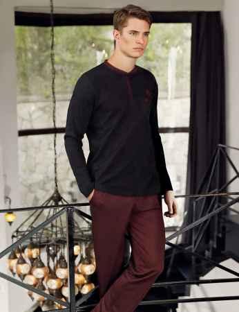 Şahinler Yakası Düğmeli Erkek Pijama Takımı MEP24505-1 - Thumbnail