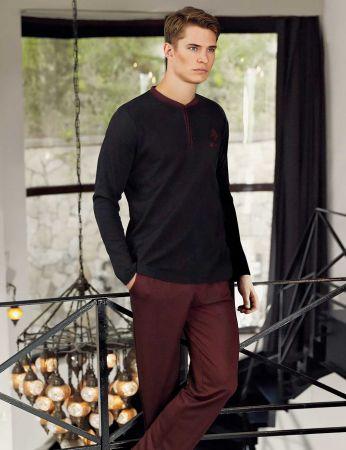 Şahinler - Şahinler Yakası Düğmeli Erkek Pijama Takımı MEP24505-1