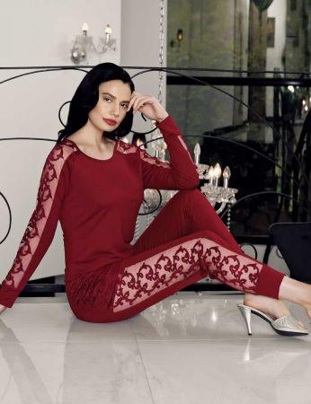 Şahinler - Şahinler Yanları Dantelli Bayan Pijama Takımı Bordo MBP24414-2