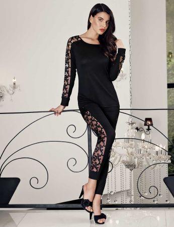 Şahinler - Şahinler Yanları Dantelli Bayan Pijama Takımı Siyah MBP24414-1