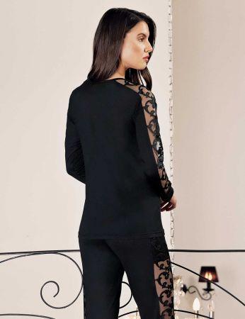Şahinler - Şahinler Yanları Dantelli Bayan Pijama Takımı Siyah MBP24414-1 (1)