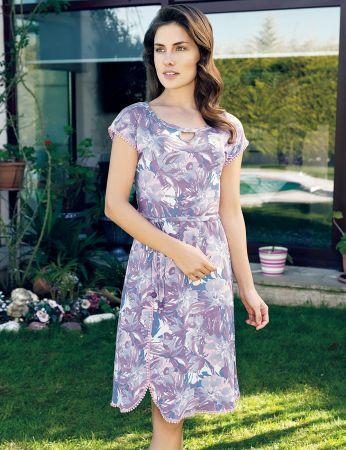 Şahinler - Şahinler Yazlık Kadın Elbise Desenli MBP24019-1