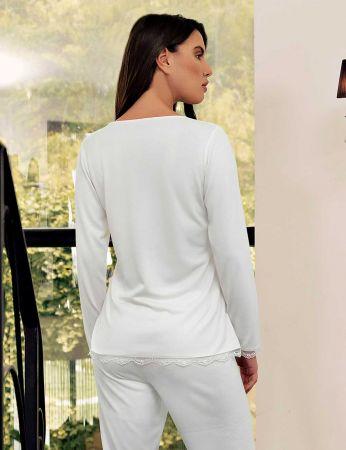 Şahinler - Şahinler Zakkum Dantelli Bayan Pijama Takımı Beyaz MBP24404-1 (1)