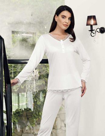 Şahinler - Şahinler Zakkum Dantelli Bayan Pijama Takımı Beyaz MBP24404-1