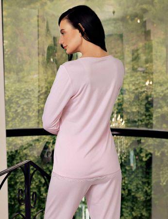 Şahinler - Şahinler Zakkum Dantelli Bayan Pijama Takımı Pembe MBP24404-2 (1)