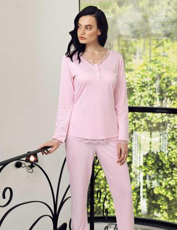 Şahinler - Şahinler Zakkum Dantelli Bayan Pijama Takımı Pembe MBP24404-2