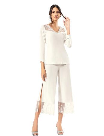 Şahinler - Şahinler Zakkum Dantelli Yırtmaçlı Bayan Pijama Takımı MBP24410-1
