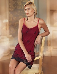 Şahinler - Sahinler Zakkum Lace Nightgown Spaghetti Strap Red MB1011