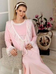 Sahinler Zakkum Maternity Morning Gown MBP22435-1 - Thumbnail