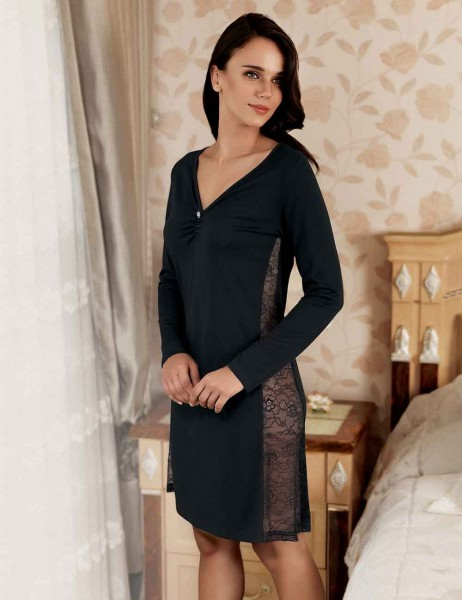 Şahinler - Sahinler Zakkum Morning Gown & Nightgown Set Black MBP22407-1