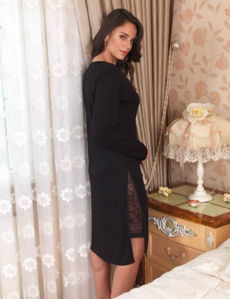 Şahinler - Sahinler Zakkum Morning Gown & Nightgown Set Black MBP22407-1 (1)